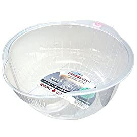 Inomata.0800 Japanese Vegetable Fruit Rice Wash Bowl, 8-Inch, Clear 8 Rice washing bowl with side and bottom drainers Dimension: 8-Inch x 9-Inch x 41/4-Inch Easy to use and clean