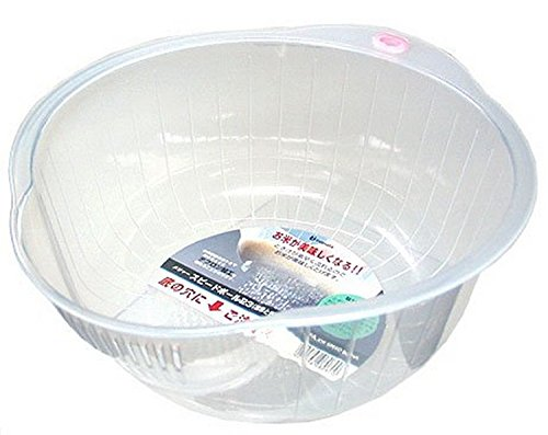 Inomata.0800 Japanese Vegetable Fruit Rice Wash Bowl, 8-Inch, Clear