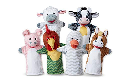 Melissa & Doug Barn Buddies Hand Puppets, Puppet Sets (Cow, Sheep, Horse, Duck, Chicken, Pig, Soft Plush Material, Set of 6)