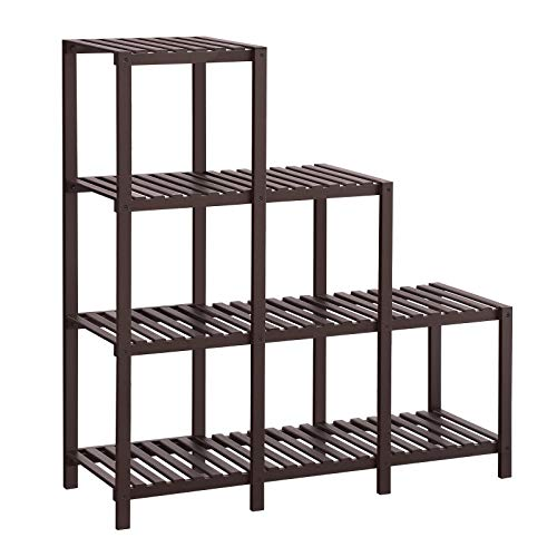 SONGMICS Bamboo Multi Storage Shelf, Room Divider,6-Cube Organizer Display Rack,Indoo Plant Stand,DIY Adjustable Shelving Unit for Balcony,Bathroom,Living Room,Yard Garden,Brown ULUS06BR
