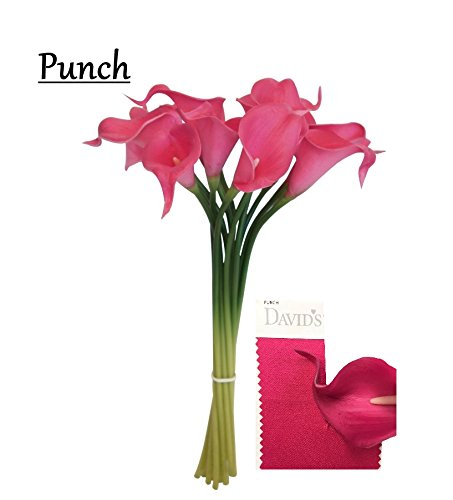 Angel Isabella 20pc set of Keepsake artificial Real Touch calla lily with Small Bloom perfect for making bouquet, boutonniere,corsage (Hot Pink) ()