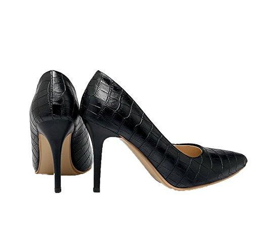 AgooLar Damen Ziehen auf Stiletto PU Streifen Schließen Zehe Pumps Schuhe Schwarz