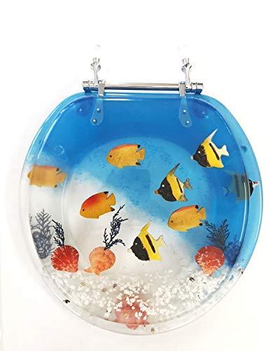 Daniel#039s Bath amp Beyond Polyresin Round Fish Aquarium Toilet Seat 17quot Blue