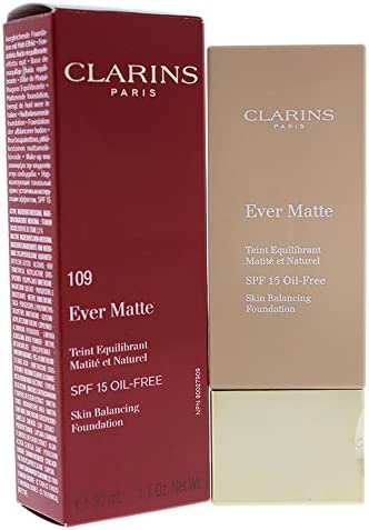 Clarins Ever Matte Skin Balancing Foundation SPF 15, No. 109 Wheat, 1.1 Ounce