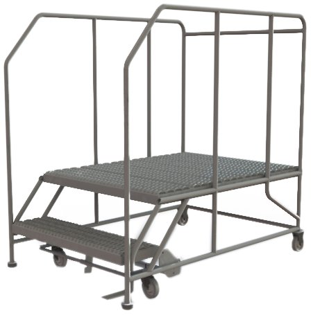 Tri-Arc WLWP123648SL 2-Step Forward Descent Mobile Steel Work Platform with Handrails, Step Lock, 36-Inch x 48-Inch ()