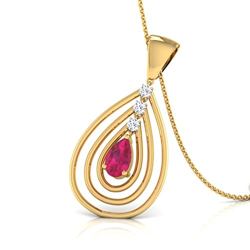 18 K Or Blanc 0,03 CT TW Round-cut-diamond (IJ | SI) et tourmaline rose Pendentif