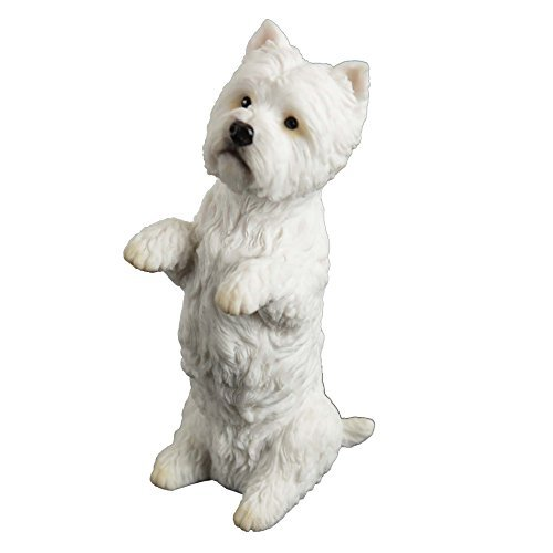 Miniature West Highland White Terrier - West Highland White Terrier Sitting Up Puppy Dog - Figurine Miniature 4.25