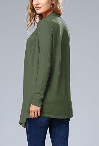 Lunga Vintage Outwear Glamorous Haidean Elegante Semplice Camicia Verde Lungo Cappotti Cardigan Tinta Donna Top Cappotto Classico Unita Larghi Manica Autunno Moda Casual ggq84Iw