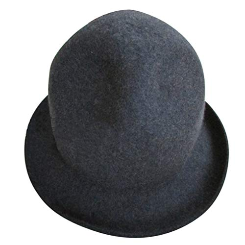 1858 Buffalo - Fashion Women Men Wool Felt Mountain Hat Dome Top Celebrity Style Novelty Buffalo Hat Bowler Hats Gray