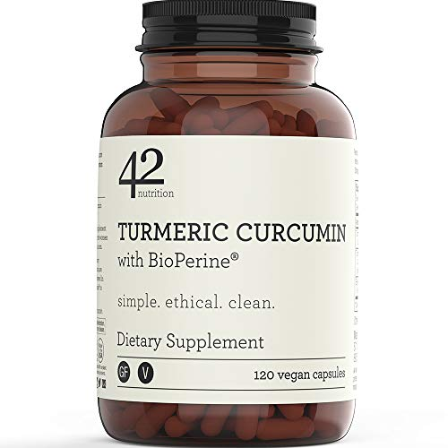 42Nutrition Turmeric Curcumin Supplement with BioPerine for Inflammation, Pain Relief and Joint Support (120 Vegan Capsules) - 95% Standardized Curcuminoids - Recyclable Amber Glass Bottle