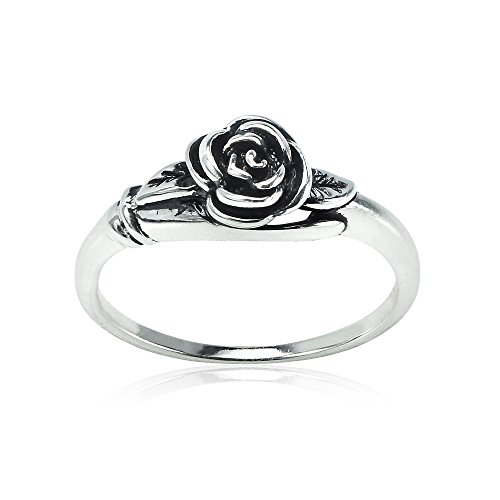 - Sterling Silver Oxidized Flower Rose Ring, Size 7