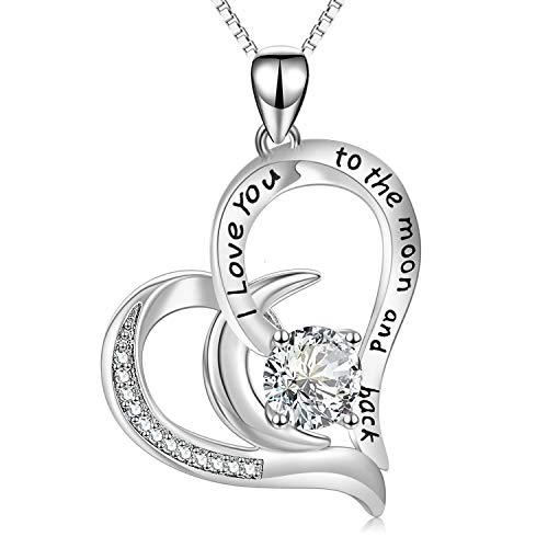 AOBOCO I Love You to The Moon and Back Moon Necklace - Sterling Silver Heart Pendant Necklace with Swarovski Crystals Anniversary Birthday Gift for Her