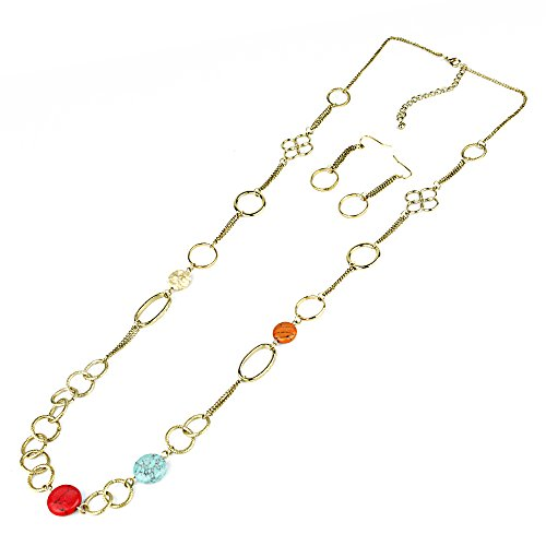 QuickPeter Long Chain Necklace with Different Colored Gem Stones with Matching Earrings Set (Multi Coloured Gemstone Earrings)