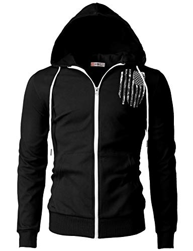 H2H Mens Casual Zip-up Hoodie Double Cotton Lightweight American Flag Printed Hooded Black US S/Asia M (CMOHOL065)