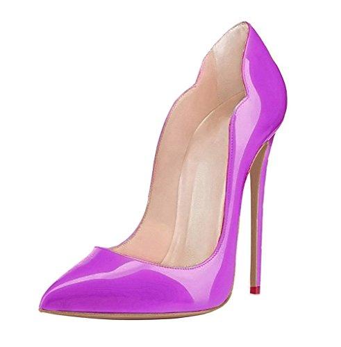 Classico Purple Tacco Edefs Scarpe Heels Col Davanti High Ritaglio Chiuse Donna Scarpa xpIw6q