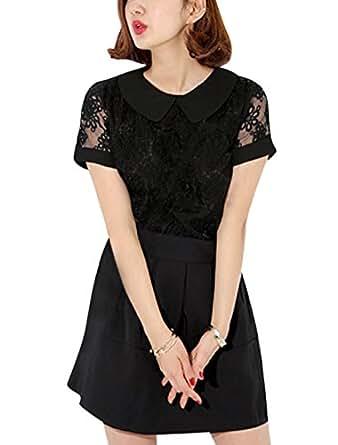 uxcell Ladies Short Sleeve Peter Pan Collar Organza Panel Blouse Black XS