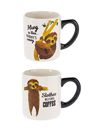 - Get Slothed Friday's Coming Natural Brown 12 ounce Glossy Ceramic Mugs Set of 2