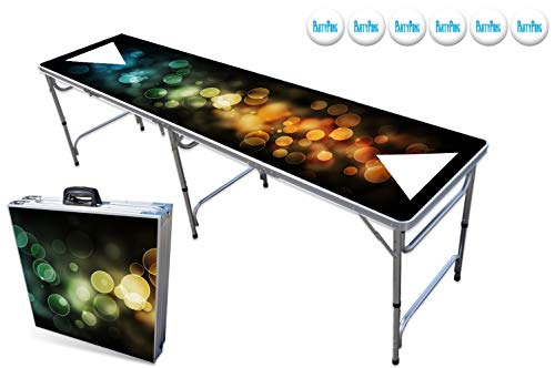 PartyPongTables.com 8-Foot Professional Beer Pong Table w/Optional Cup Holes & LED Lights – Bubbles and Color Spectrum Editions