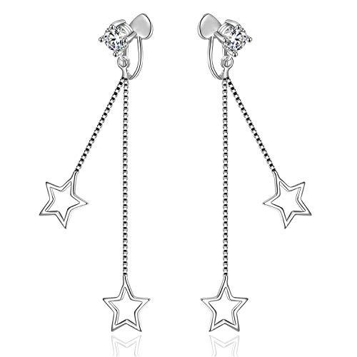 OwMell 925 Sterling Silver No Piercing Ear Cuffs CZ Stone Long Star Ear Drop Tassel Dangle Earrings