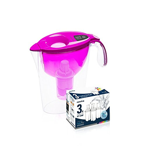 novita Singapore Alkaline Water Pitcher NP2290, 76Oz, with 4 Filter Pieces (Periwinkle Purple)