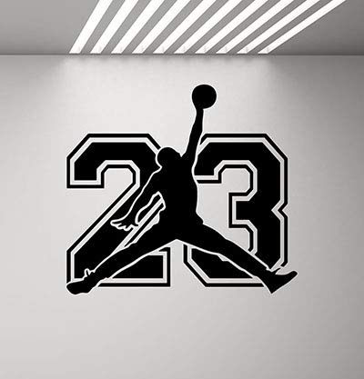 CarolGreyDecals Michael Jordan Sign Wall Decal Sport 23 Air Jordan Jumpman Decal Basketball Poster Stencil Gym Wall Vinyl Sticker Kids Teen Boy Room Nursery Bedroom Wall Art Decor Mural 847 -