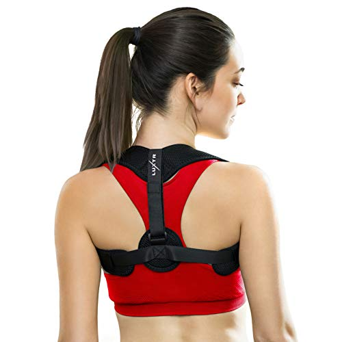 (Luxtr Posture Corrector - Adjustable Back Brace Design for Men and Women - Relieves Neck, Shoulder & Upper Back Pain - Corrects Slouching and Hunching - Resistance Band, Ebook, Travel Bag Included)
