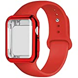 YC YANCH Compatible for Apple Watch Band with Screen Protector 44mm, Silicone Sport Strap Replacement Wristband with Apple Watch Case Compatible with iWatch Apple Watch Series 4,M/L Red