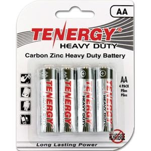 Tenergy AA Pack of 4 Carbon Zink Heavy-Duty Batteries (Tenergy Aa Batteries)