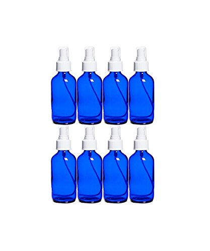 Perfume Studio® 4 oz Cobalt Blue Glass Spray Bottles & Essential Oil Sample (Set of 8 Cobalt Sprayer Bottles & 1 Perfume Studio Essential Oil Glass Vial). Ideal and Versatile ()