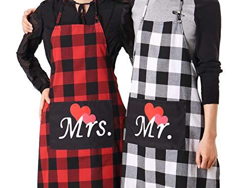 (Mr. and Mrs. Plaid Matching Aprons-Couple Kitchen Baking Set-Personalized Cooking Bibs-Lumberjack Cotton Buffalo Check Pattern-Gift for Bridal Engagement Wedding Marriage Newlywed (Plaid Couple Set))