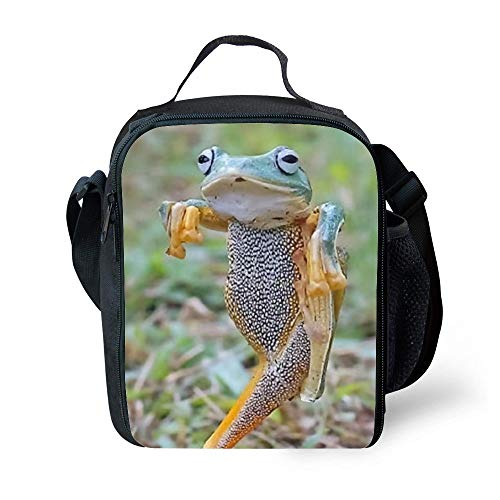 SARA NELL Kids Lunch Box Insulated Hip Hop Frog Lunch Bag Large Lunch Boxes Cooler Meal Prep Lunch Tote With Shoulder Strap For Boys Girls Teens Women Adults