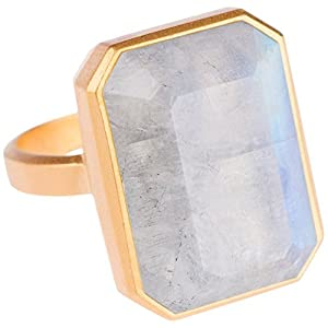 RINGLY Bluetooth Smart Ring- Gold/Rainbow Moonstone – (Previous Generation)