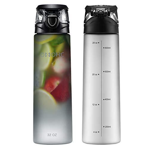 Water Bottle 32 Oz Loop - OMORC Sports Water Bottle 1L/32 oz Large Non-Toxic BPA Free Tritan Plastic Water Bottle,Flip-Top Leakpoof Lid and Dustproof Cap,Carry Loop