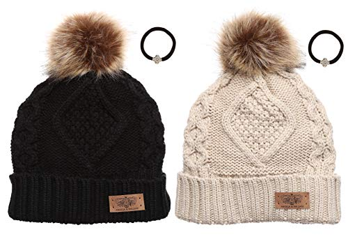 Women's Winter Fleece Lined Cable Knitted Pom Pom Beanie Hat with Hair ()