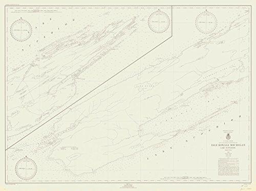 Map - Isle Royale Michigan Lake Superior, 1948 Nautical NOAA Chart - Michigan (MI) - Vintage Wall Art - 59in x 44in (Lake Depth Superior Chart)