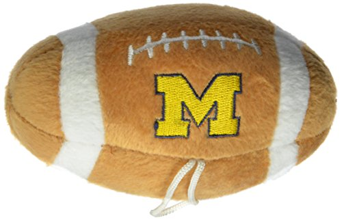 Sporty K9 NCAA Michigan Wolverines Plush Football Pet Toy, 5-inch Long with Inner Squeaker