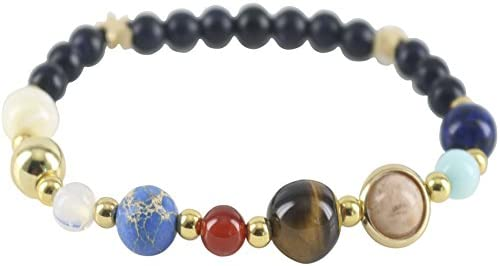 Cuff Bracelets for Women Girls Gift 18.5cm Solar System Eight Planets Natural Stone Beaded Bracelet Charm Jewelry