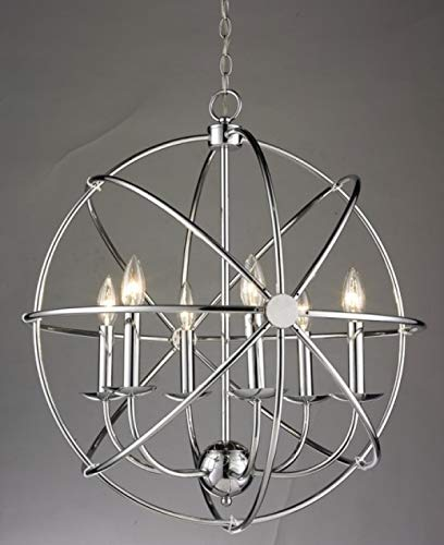 Chrome Orb Rod Light Fixture with Candle Light