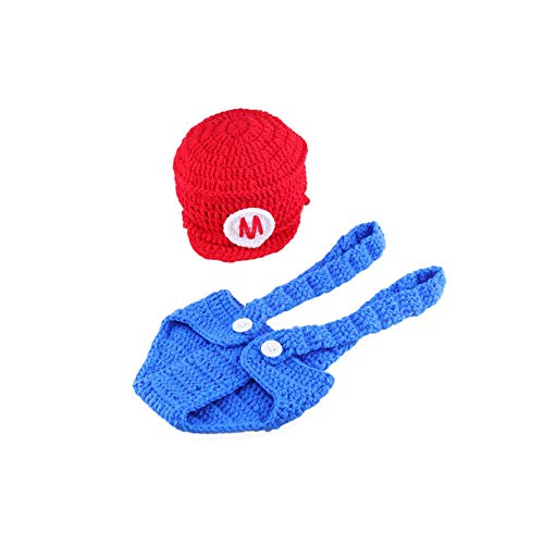 Super Mario Outfits (Infant Newborn Baby Boy Girl Crochet Costume Outfits Photography Props Super Mario Outfit Mario Hat+Pant 0-6)