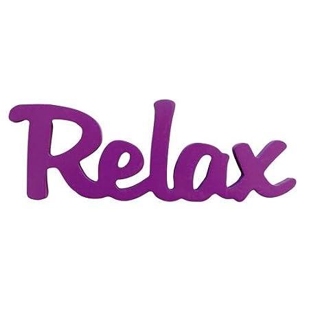 neon wooden word relax purple colour word decoration 20cm x 7cm