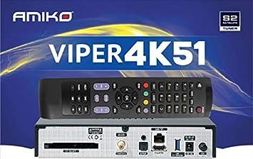 AMIKO Viper 4K51 Linux Enigma2 Receptor de sat/élite 4K con Interfaz com/ún H265 OS Open ATV