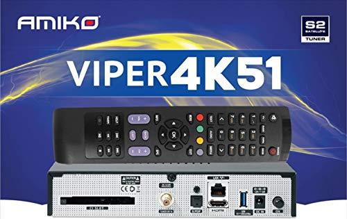 Receptor de sat/élite 4K con Interfaz com/ún H265 OS Open ATV AMIKO Viper 4K51 Linux Enigma2