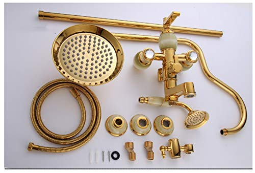 UNIQUE-F Bathroom Antique Shower Multi-Function Suit Copper Hot and Cold Water Rust Anti-scalding Telescopic Free Adjustment 2 Styles by UNIQUE-F (Image #7)