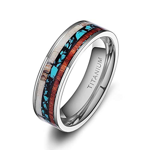 TIGRADE 6mm/8mm Deer Antlers Titanium Ring Wedding Bands Turquoise Wood Inlaid Flat Comfort Fit