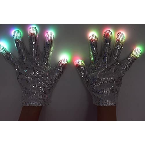 LED Flashing Gloves Glow 7 Mode Light Up Finger Lighting Halloween Party Cycling
