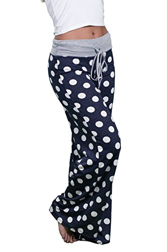 Inspire L'Amour Womens USA Made Comfy Stretch Soft Wide Leg Casual Lounge Pants (Navy Polka Dot, X-Large)