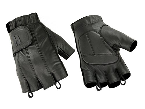 Hugger Glove Company DeerSoft Fingerless Gel-Padded Palm Motorcycle Glove (Large), Black