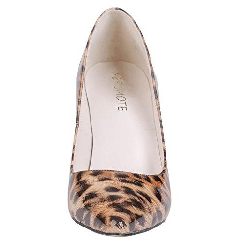 MERUMOTE - Zapatos de tacón fino Mujer Leopard-Patent