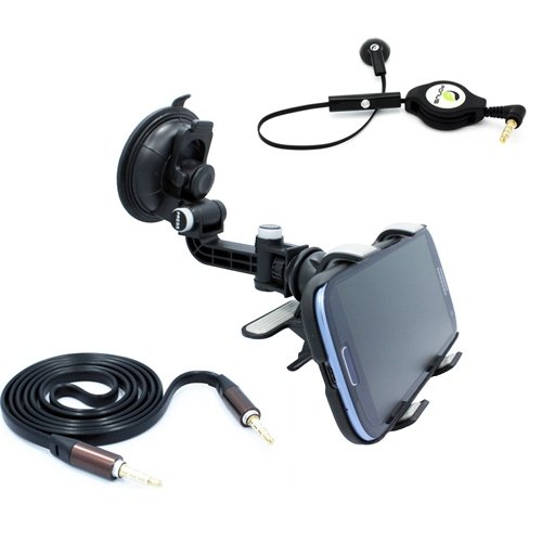 Accessory Bundle includes Premium Car Mount Window Phone Holder + Flat AUX Cable + Retractable Mono Headset for Boost Mobile ZTE Warp Sync - Cricket HTC Desire 510 - Cricket HTC One SV - Cricket HTC One V - Cricket Huawei Mercury (Oem Mono Earbud)