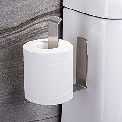 Taozun Self Adhesive Toilet Paper Holder - Over The Tank Toilet Tissue Paper Roll Holder,no Drilling SUS 304 Stainless Steel Brushed
